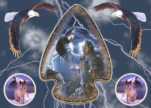 Belle image d'amerindien avec aigles et loups.