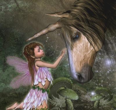 Belle licorne et petite fée.